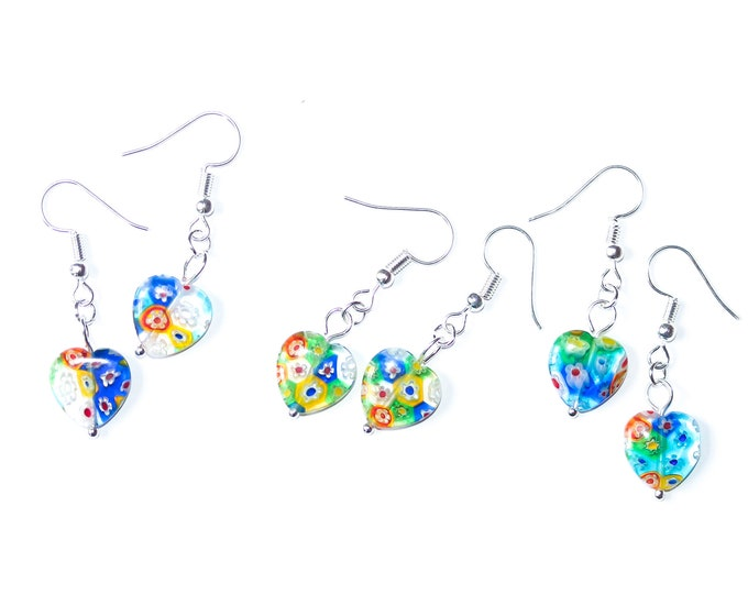 Earrings with heart shaped millefiori beads, rainbow colours