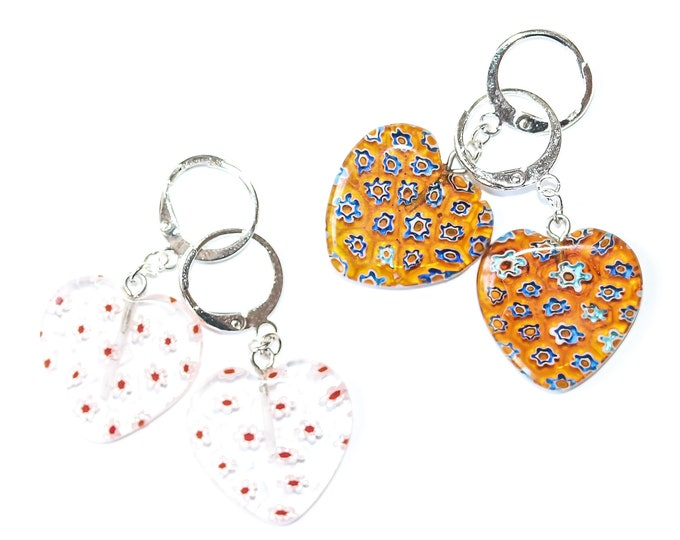 Earrings with large heart shaped millefiori beads, white or yellow