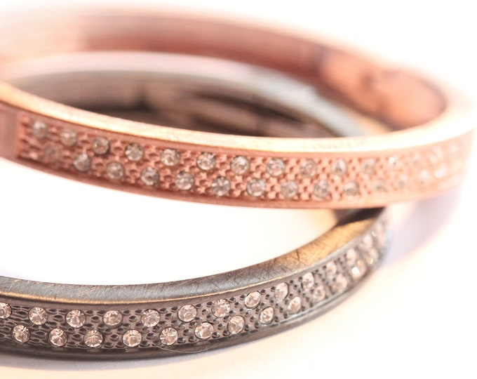 Beautiful bangle bracelets, rose gold or gunmetal, with strass