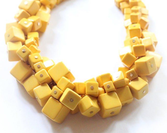 Vintage yellow necklace, with large plastic cubed shaped beads
