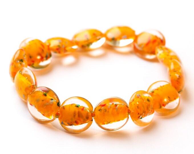 Bracelet with orange Murano glass beads