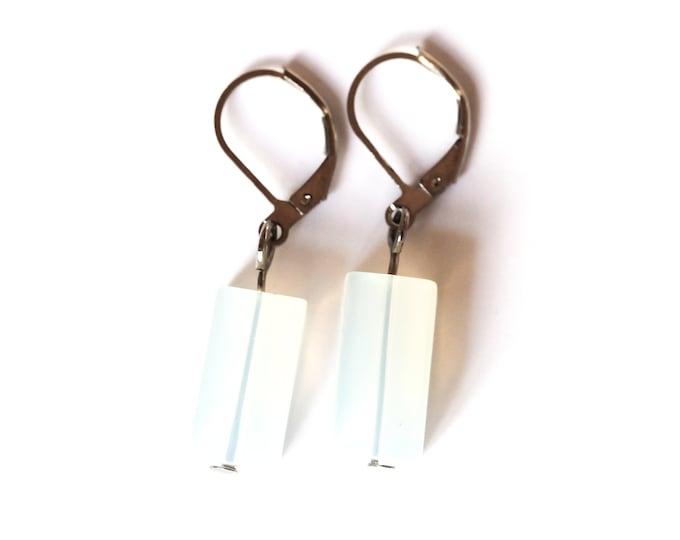 Earrings with rectangular milky white beads
