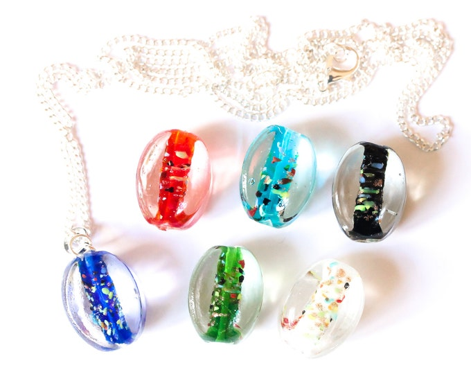 90 cm silver plated necklace with large Murano glass bead (chose your colour !)