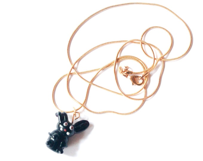 Golden chain necklace (60 cm) with a black rabbit (handmade glass bead)