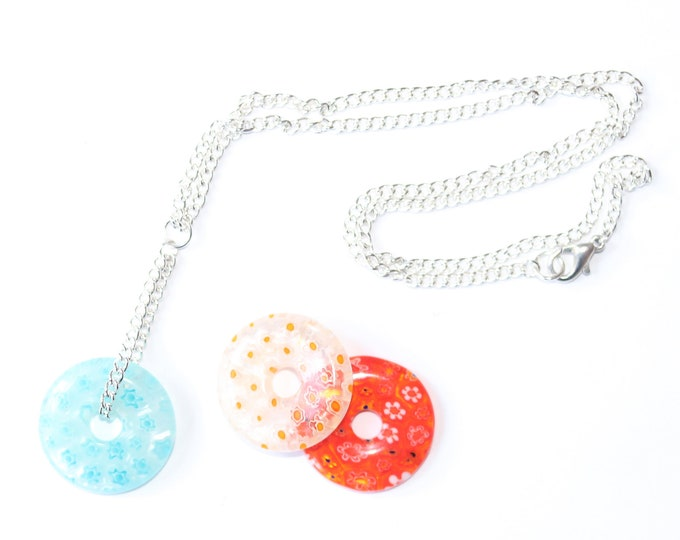 40 cm silver plated necklace with a large ring shaped millefiori bead, blue, white, or orange