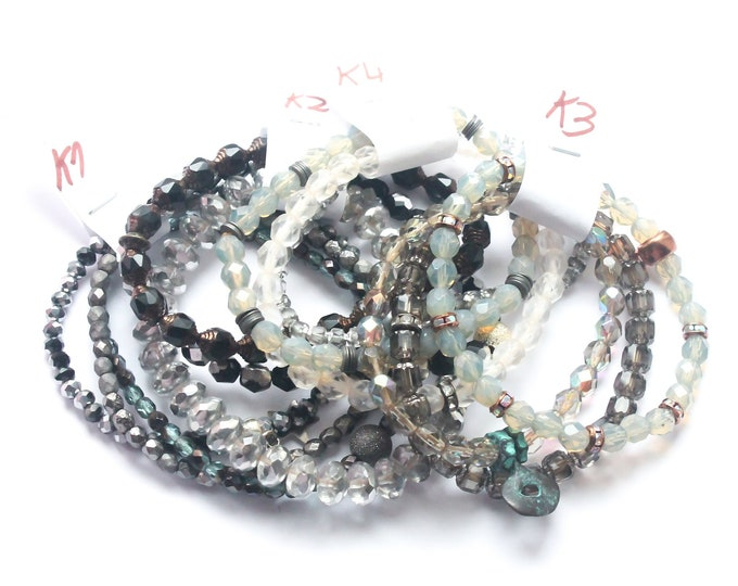 DESTOCK ! Bracelets with Czech glass beads - Black, grey, silver, transparent, several sizes and colours