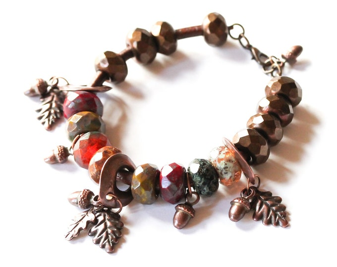 Gorgeous Autumn bracelet, with earthy colours and dark copper charms