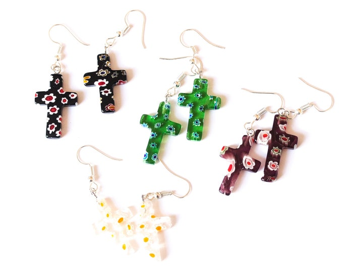 Earrings with cross shaped millefiori beads, several colours