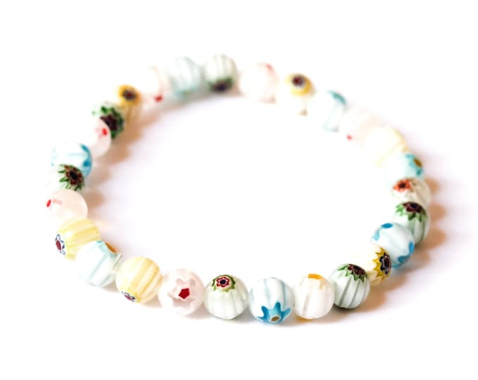 Bracelet with round millefiori beads, pastel colors