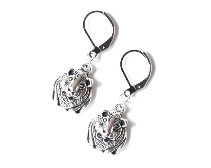 Silver guinea pig earrings