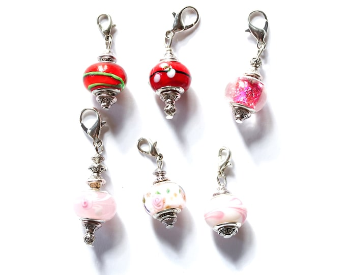 Charm / dog collar charm / pendant, with red/pink Murano glass charm and silver lobster clasp