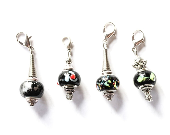 Charm / dog collar charm / pendant, with black Murano glass charm and silver lobster clasp