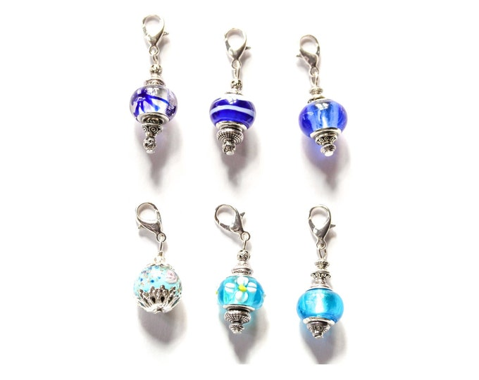 Charm / dog collar charm / pendant, with blue Murano glass charm and silver lobster clasp