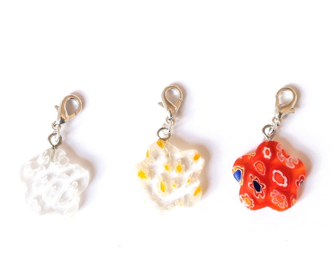 Charm / pet collar charm / pendant, with flower shaped millefiori bead