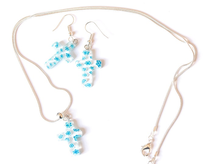 Jewelry set (60 cm silver plated necklace + earrings) with millefiori cross shaped beads, light blue