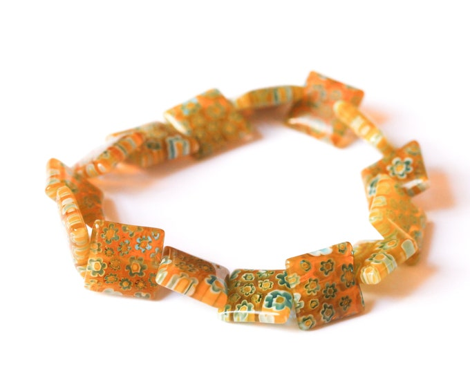 Bracelet with square shaped millefiori beads, yellow