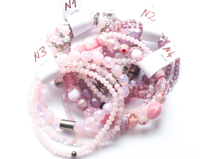 DESTOCK ! Bracelets with Czech glass beads - pink, several sizes and colours