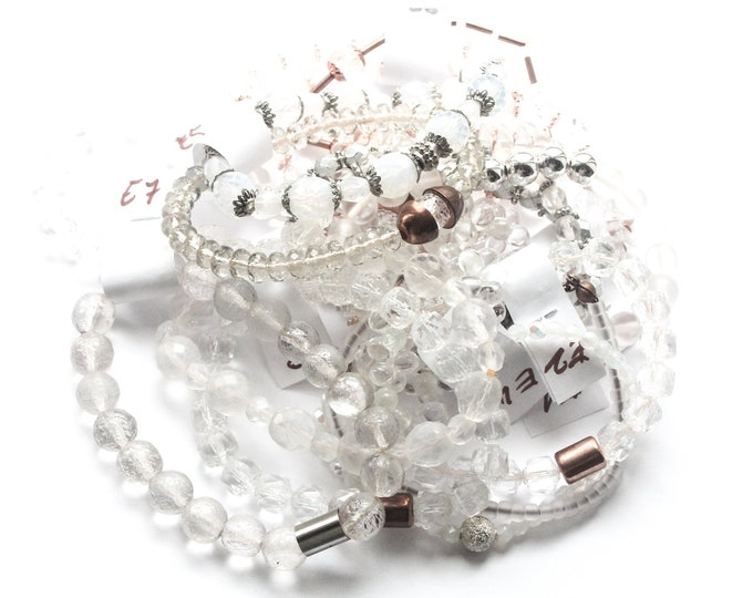 DESTOCK ! Bracelets with Czech glass beads - Clear, semi-transparent, silver,  several sizes