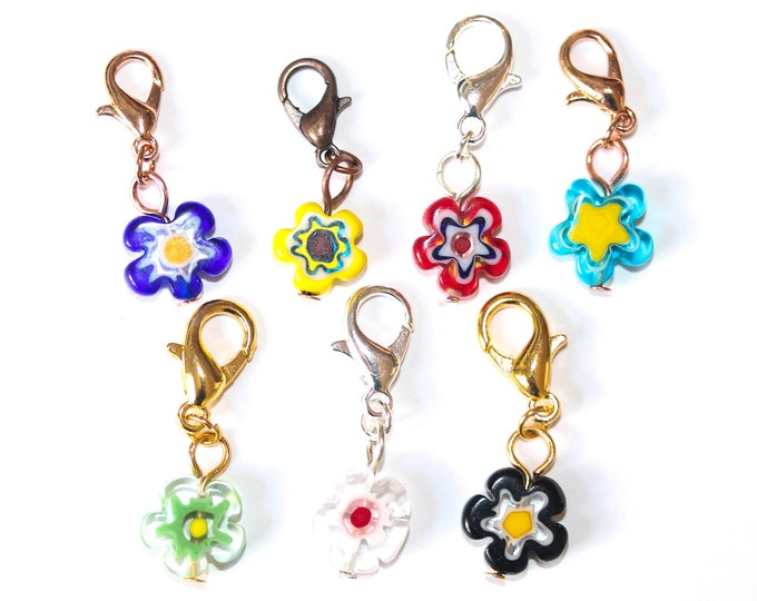 Charm / dog collar charm / pendant / with cute flower shaped millefiori bead. Chose your colour !