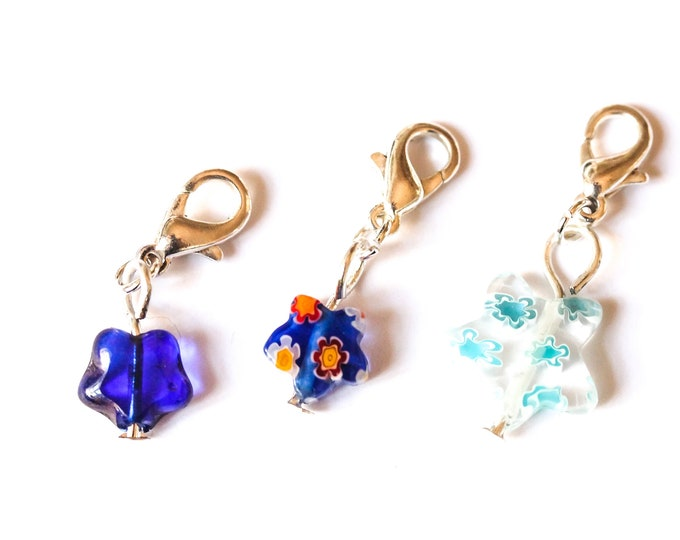 Charm / pet collar charm / pendant, with star shaped glass bead (3 styles)