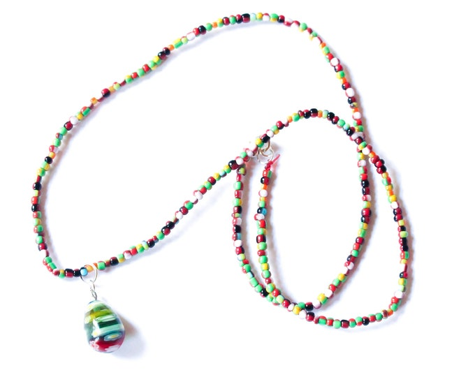 55 cm cm necklace with a large drop shaped millefiori bead, red, white and green