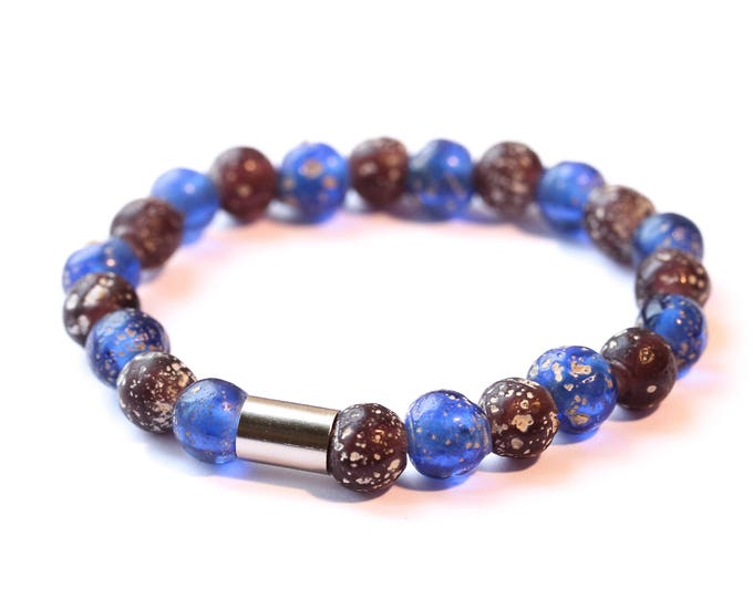 Bracelet with purple and blue rustic glass beads