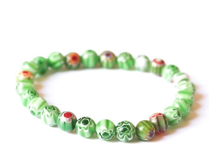 Bracelet with round millefiori beads, green