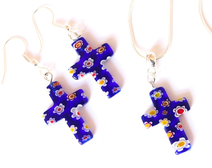 Jewelry set (silver plated necklace + earrings) with millefiori cross shaped beads, dark blue