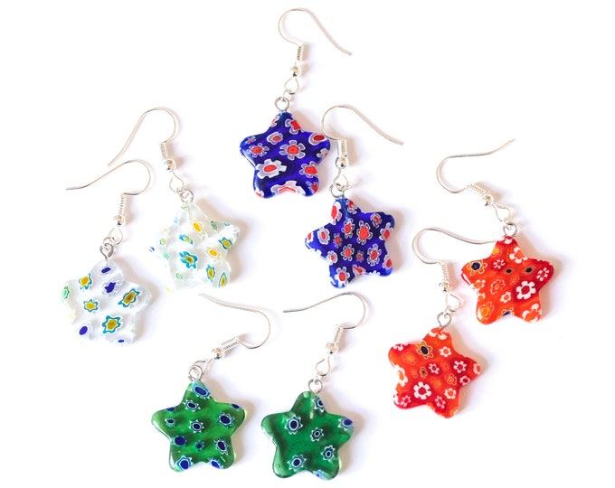 Earrings with star shaped millefiori beads, several colours