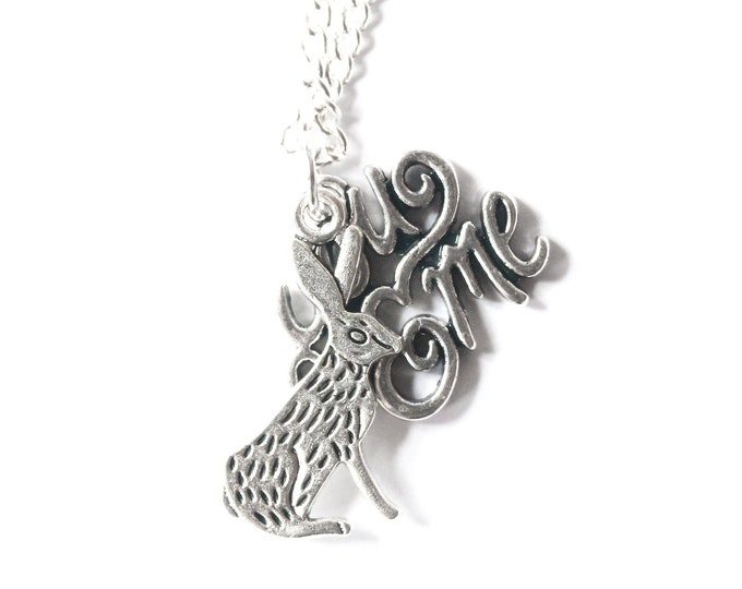 "Necklace ""You and Me"" with a rabbit pendant on a silver plated chain"