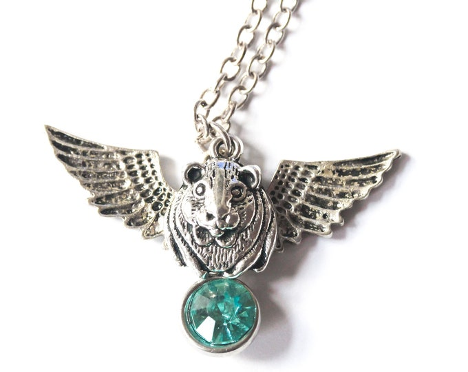 Memorial necklace with a angel guinea pig and a blue rhinestone