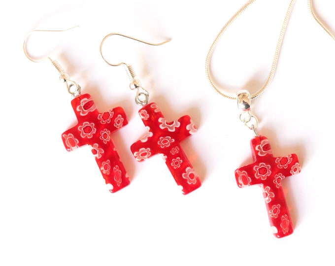 Jewelry set (60 cm silver plated necklace + earrings) with millefiori cross shaped beads, red