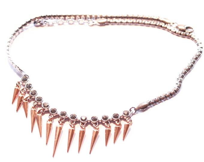 Gorgeous premium statement necklace, rose gold and silver