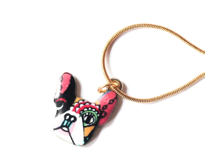 Golden necklace with a dog pendant (French Bulldog style)