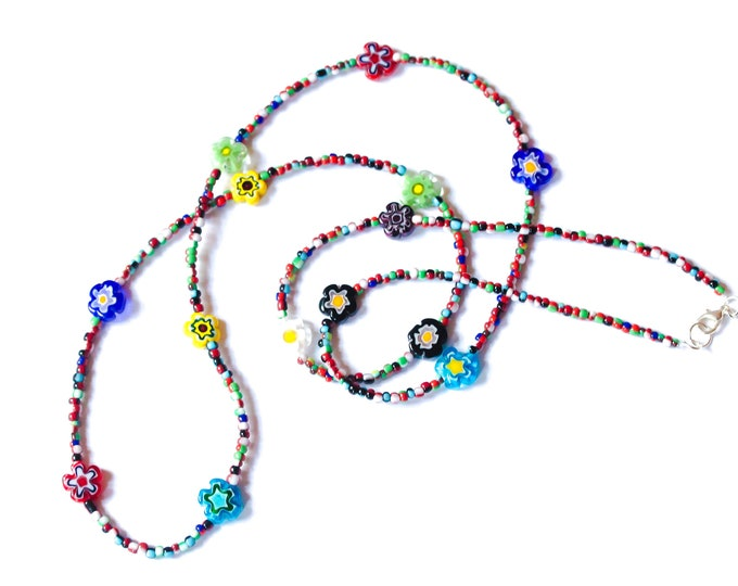 80 cm beaded necklace with Millefiori glass flower beads