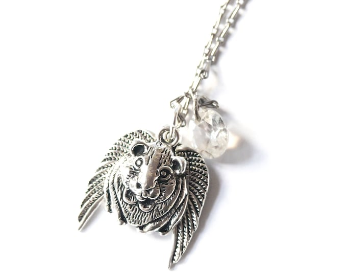 Memorial necklace with a angel guinea pig