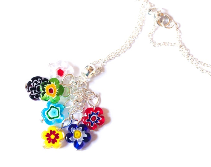 45 cm silver plated necklace with 7 glass flower beads (millefiori, Murano)