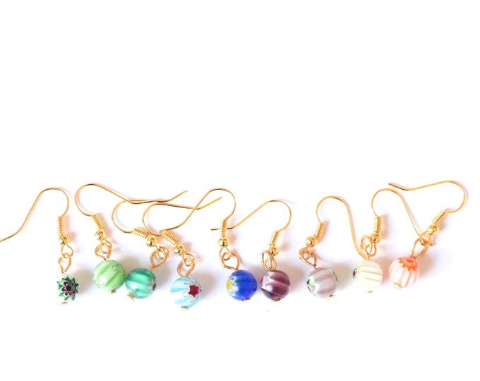 Gold earrings with colourful millefiori beads (9 colours available)