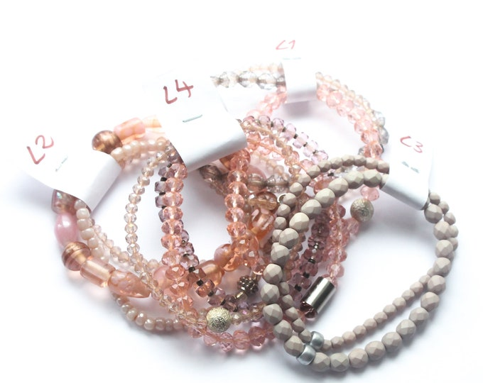 DESTOCK ! Bracelets with Czech glass beads - pink or nude, several sizes and colours