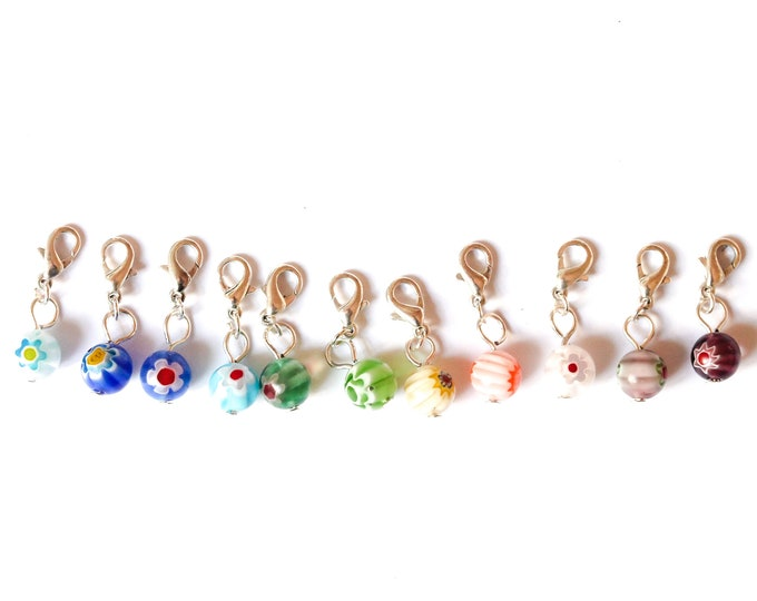 Charm / pet collar charm / pendant, with beautiful millefiori bead (11 colours)