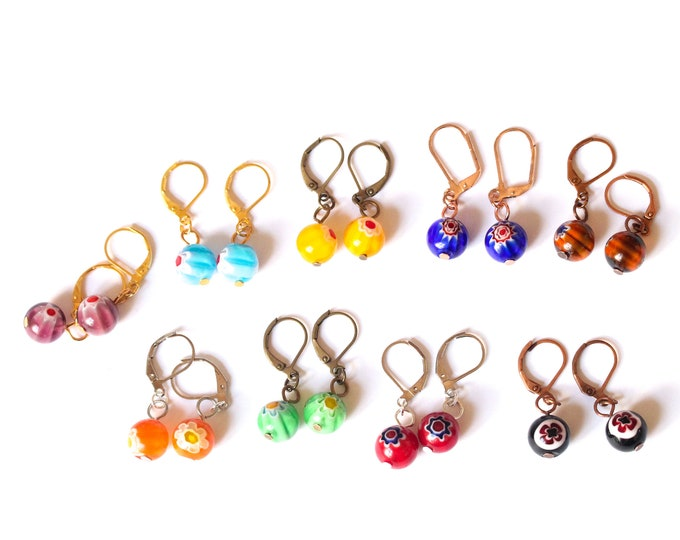 Earrings with 8 mm round millefiori beads. Many colours available !