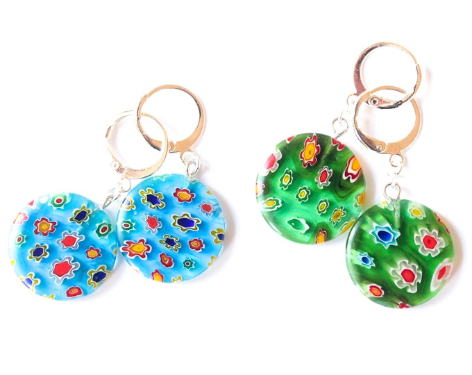 Earrings with large disc shaped millefiori beads, green or blue