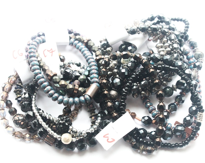DESTOCK ! Bracelets with Czech glass beads - Black, anthracite, grey, several sizes and colours