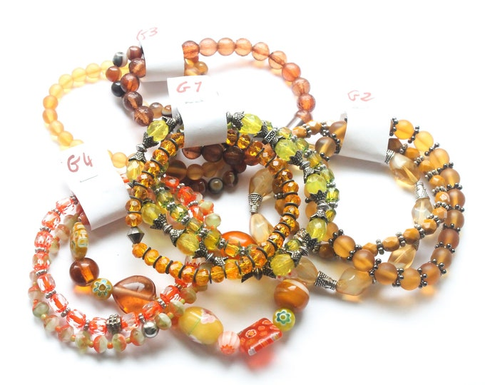 DESTOCK ! Bracelets with Czech glass beads - Yellow, orange, mustard, amber, brown, several sizes and colours