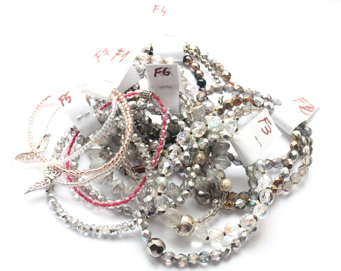 DESTOCK ! Bracelets with Czech glass beads - Gold, silver, transparent, several sizes and colours