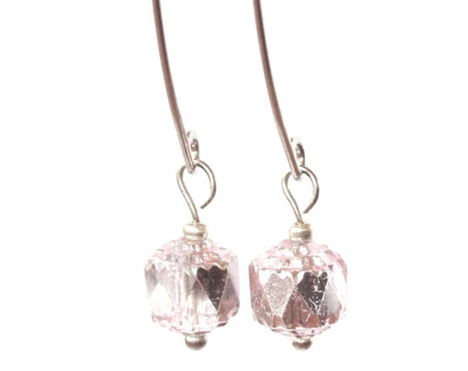 Earrings with 8 mm shiny light pink faceted glass beads