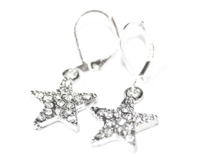 Silver leverback earrings with 1,5 cm silver star with rhinestones