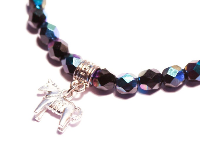 Bracelet with a silver Dala horse (Swedish horse) charm and 6 mm black rainbow glass beads