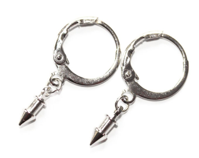 Silver hoop earrings with tiny arrows