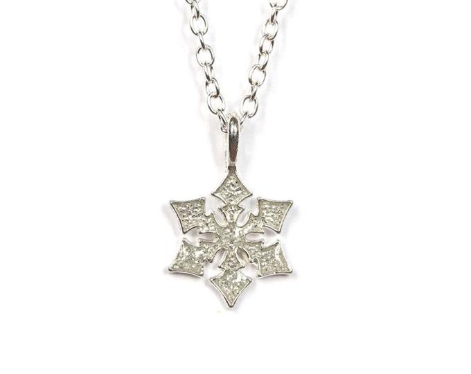 Glittery snowflake pendant on a 50 cm silver chain